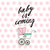 Baby shower invitation, birthday card with baby carriage and watercolor dots, vecto Stock Photography
