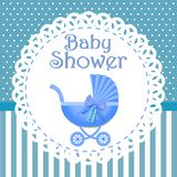Baby shower invitation with blue background, baby shower for boy,   eps10 stock illustration