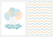 Baby shower invitation for boys Blue balloons ribbon text Set 2 cards Vector. Baby shower invitation for boys Blue balloons ribbon with text Set of 2 cards Blue stock illustration