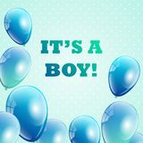Baby shower invitation for boys. Royalty Free Stock Photo