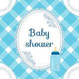Baby shower invitation card. Baby boy arrival, shower, greeting, announcement card with milk bottle. Vector illustration, postcard. Embroidery stylization Stock Images