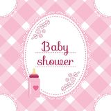 Baby shower invitation card. Baby girl arrival, shower, Greeting, announcement card with milk bottle. Vector illustration, postcar. D, Embroidery stylization Stock Photos