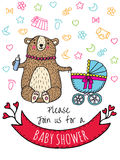 Baby shower invitation card with bear Stock Photography