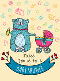 Baby shower invitation card with bear mother. Vector Illustrated card vector illustration