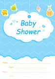 Baby Shower invitation card,blue with white clouds. And hanging baby clothes Royalty Free Stock Images