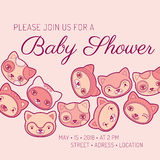 Baby shower invitation card cat theme Stock Photography