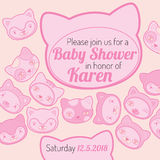 Baby shower invitation card cat theme Stock Image