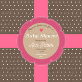 Baby shower invitation card with chocolate background and pink ribbon. Baby shower invitation card with chocolate background and a pink ribbon Stock Images