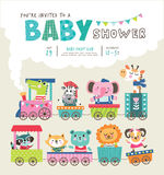 Baby shower. Invitation card with cute animals on train Stock Photos