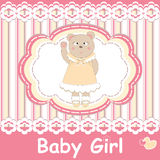 Baby shower invitation card with cute baby bear Royalty Free Stock Photography