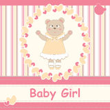 Baby shower invitation card with cute baby bear Royalty Free Stock Images
