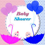 Baby shower invitation card. Cute boy and girl stock illustration