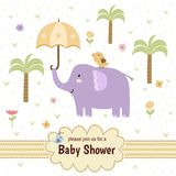 Baby shower invitation card with a cute elephant Stock Photo