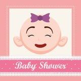 Baby shower invitation card design. Baby girl cartoon icon. Baby shower invitation card. Colorful design. Vector illustration Stock Photo