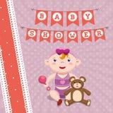 Baby shower invitation card design. Baby girl cartoon icon. Baby shower invitation card. Colorful design. Vector illustration Stock Photography