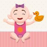 Baby shower invitation card design. Baby girl cartoon icon. Baby shower invitation card. Colorful design. Vector illustration Royalty Free Stock Image