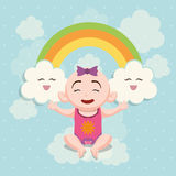 Baby shower invitation card design. Baby girl cartoon and rainbow icon. Baby shower invitation card. Colorful design. Vector illustration Royalty Free Stock Photos