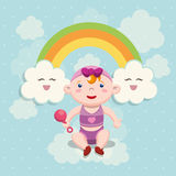 Baby shower invitation card design. Baby girl cartoon and rainbow icon. Baby shower invitation card. Colorful design. Vector illustration Royalty Free Stock Image