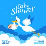 Baby Shower invitation card design with stork lifting infant and event details. Baby Shower invitation card design with stork lifting infant and event details royalty free illustration