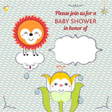 Baby shower invitation card editable template funn Royalty Free Stock Photo