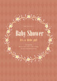 Baby shower invitation card with flower crown,Vector illustrations Royalty Free Stock Images