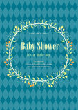 Baby shower invitation card with flower crown,Vector illustrations Stock Images