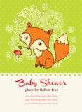 Baby shower invitation card with a fox. Stock Images
