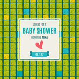 Baby shower invitation card   green flash color. Royalty Free Stock Photo