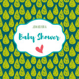 Baby shower invitation card   green flash color. Royalty Free Stock Photography