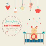 Baby shower invitation card with little rabbit in a baby cot. Baby shower invitation card with little rabbit in baby cot Stock Photo