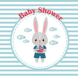 Baby shower invitation card with little rabbit. Royalty Free Stock Image