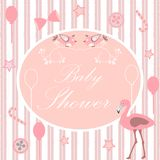 Baby Shower Invitation Card in pink with flamingo bird and other Royalty Free Stock Photography