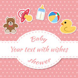 Baby shower. Invitation card. Place for text.  Greeting cards Royalty Free Stock Photo
