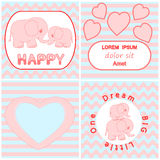 Baby shower invitation card set including Cartoon pink baby elephant card, Heart and wavy stripes background cards Stock Photo