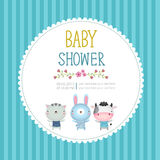 Baby shower invitation card template on blue background Stock Image