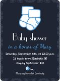 Baby shower invitation card template. Invitation, postcard, banner. Newborn boy arrival. Little socks. Vector Stock Photography