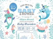 Baby shower invitation card. Baby shower under the sea theme invitation card with cute marine life cartoon character vector illustration