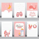 Baby shower invitation card, vector. Happy birthday, holiday, baby shower celebration greeting and invitation card. there are shoes, moon, dress. layout template vector illustration
