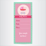 Baby shower invitation card vertical. Baby shower invitation. It's a girl. Vector illustration Stock Images