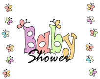 Baby shower invitation card. Baby shower invitation card on white background Stock Photography