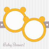 Baby Shower Invitation Card With Yellow Bears And Delicate Stripes Royalty Free Stock Image