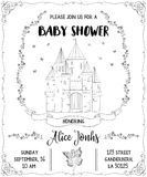 Baby shower invitation with castle, fairy, roses and butterflies. Fairy tale theme Stock Images