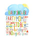 Baby Shower Invitation with Cloud Stock Photo