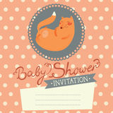 Baby Shower invitation with cute fox Stock Photo
