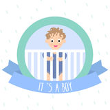 Baby Shower Invitation with cute little boy. Vector Illustration.  Stock Image