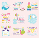 Baby shower invitation decoration celebration party template vintage. Baby shower design with cute woodland animals born arrival vector graphic. Party template Stock Photos