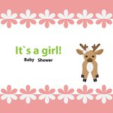 Baby shower invitation with deer icon. Deer baby,little stock illustration