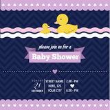 Baby shower invitation with duck in retro style Royalty Free Stock Image