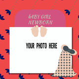 Baby Shower Invitation for girl or boy with floral background and place for photo. Vector. Illustration Royalty Free Stock Photography