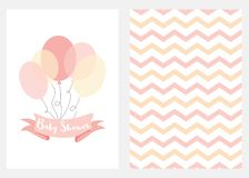 Baby shower invitation for girls Pink ballons ribbon text Set 2 cards Vector. Baby shower invitation for girls Pink balloons ribbon with text Set of 2 cards Pink vector illustration